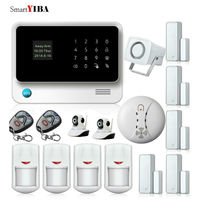 SmartYIBA WIFI GSM Alarm Support iOS Android App Wireless Home alarm Security System+IP Network Cameras+Smoke/Fire Detector