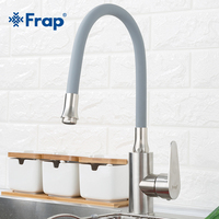 Frap Pull Out Spray Kitchen Faucet 304 Stainless Steel Any Direction Rotating Cold and Hot Water Mixer Single Handle Tap F4448