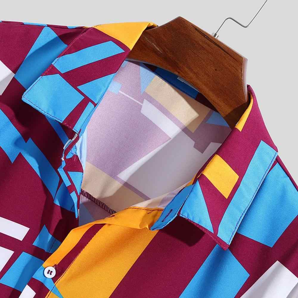 ハワイアンプリントシャツ 2019 男性コントラストカラーの幾何学プリントボタンショート/長袖ルーズストリート特大カミーサ masculina