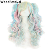 Lolita Wig Ponytail Clip Wig Heat Resistant Anime Wigs For Woman Mixed Color Purple Pink Synthetic