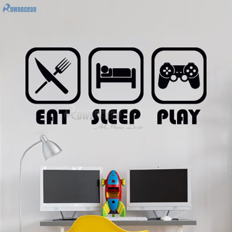 ROWNOCEAN EAT SLEEP PLAY Creative Text Quotes Wall Stickers Home Decor Vinyl Bedroom Decoration Game Removable Mural D577