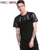 Harajuku Hip Hop T Shirt Uomo In Pelle Patchwork T-Shirt Uomo Streetwear Skate Tee Shirts Arc hem Vestiti Refurtiva Camisetas XXL