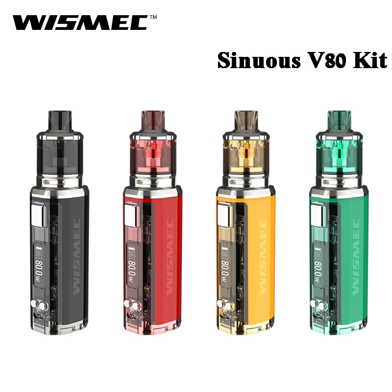 Original Wismec SINUOUS V80 and Amor NSE Kit 80W SINUOUS V80 Box MOD Vape with 3ML
