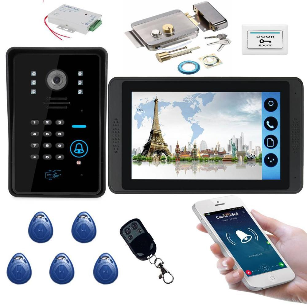 SmartYIBA APP RFID Access Doorbell 7 Inch LCD Wifi Wireless Video Door Phone Doorbell Speakephone Intercom KIT Door Lock