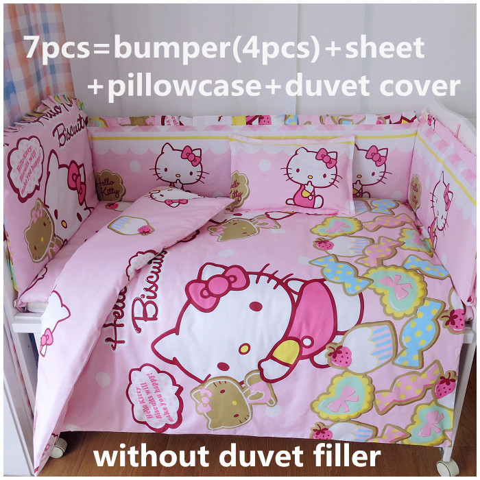 Promotion! 6/7PCS Cartoon baby crib bedding set cotton Fabric with comforter cover Bumper sets,120*60/120*70cm