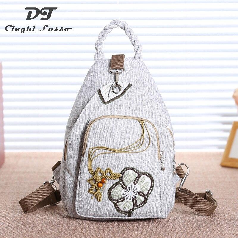2019 estilo chino mochila mujer nacional pintado a mano bolso casual bolsas para chica mujer paisaje flor bolsa-in Mochilas from Maletas y bolsas    1
