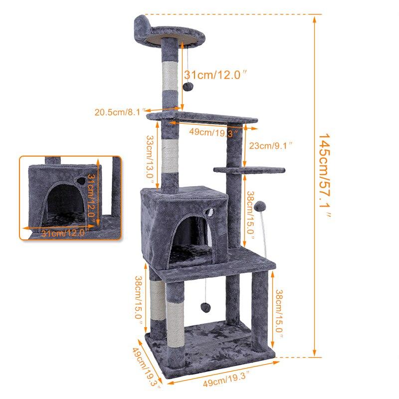 RU домашняя доставка кошка дерево 145 см дом для кошки кошка дерево высокий Кошка башня кровать Крытый спальное место с когтеточкой котенок иг...