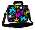 "13"" 13.3"" Peace Sign Laptop shoulder Bag Carry Case  Sleeve Pouch w.Pocket with Strap for Dell XPS /HP ENVY 13/Macbook Pro,Air"