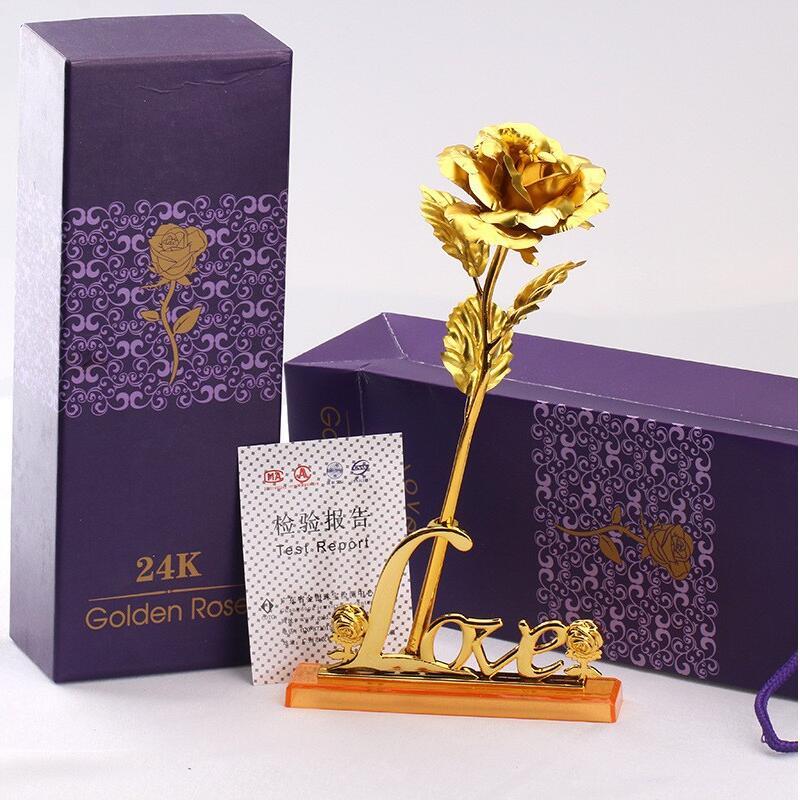 24 K oro plateado oro rosa de la boda Día de San Valentín cumpleaños Regalos de Año Nuevo flores decorativas