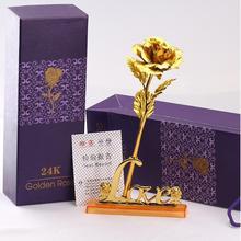 24k Gold Foil Plated Rose gold leaf rose Wedding Supplies font b Valentine b font s
