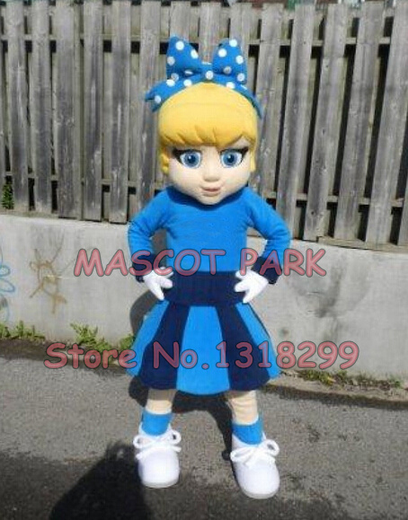Blue DRESS Cutie Cheer Leader Mascot Costume custommizable Cartoon little girl Theme Anime Costumes Carnival Fancy Dress Kits