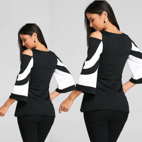 Women Patchwork Ladies Loose Casual Long Sleeve Shirt Soft Blouse Tops Shirt Plus Size 4