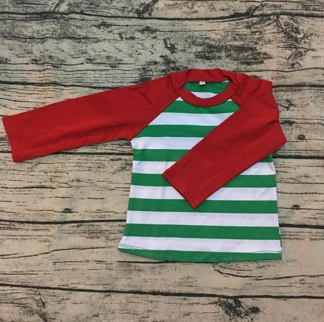 f0a25a5647 Factory direct custom Christmas children toddler green and red stripe  raglan top 3/4 sleeves cotton infant kids raglan t- shirt