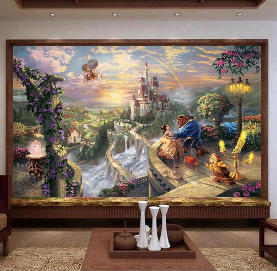 3d photo wallpaper custom living room mural beauty and the beast painting sofa TV background wall sticker wallpaper for wall 3d