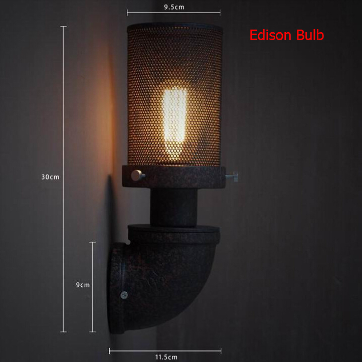 Nordico Retro Led Wall Lamp Rural wrought iron pipes Lampshade Sconce Bedroom Home Decor LOFT Fixtures 110-240V  For New Year vintage birds wall lamp sconce bedroom kitchen shop aisle decor light fixtures black iron fabric lampshade home e14 110 220v