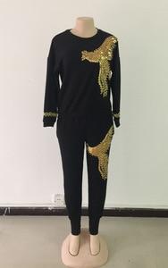 Image 5 - Afrika setleri kadınlar için yeni boncuk payetli afrika elastik Bazin dökümlü pantolon Rock tarzı Dashiki kollu ünlü Lady için Suit