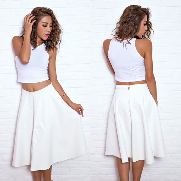 High Waisted White Skater Skirt - Skirts