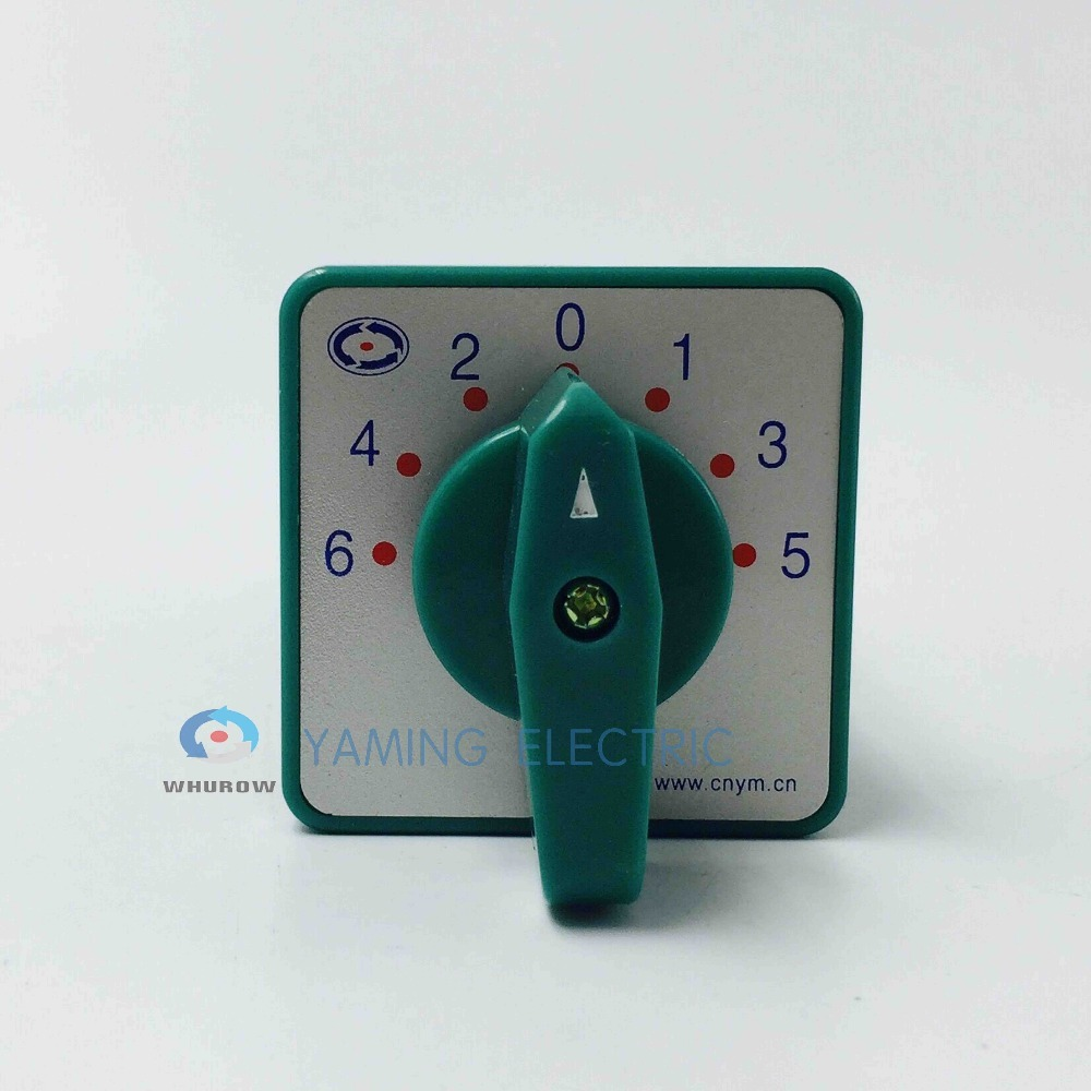 Cam switch 5A 380V 7 positions 8 poles main universal changeover rotary switch Silver contact Green LW6 8 F432 in Switches from Lights Lighting