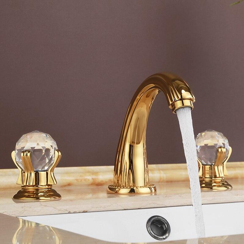 Robinet d'évier de salle de bains à trois trous en cristal d'or de luxe et en laiton massif nouveau robinet mitigeur de lavabo à eau chaude et froide