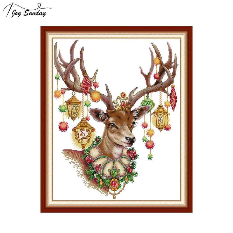 Joy Sunday Antlers Counted Stamped Cross Stitch Kits 14ct 11ct Aida Fabric Printed Canvas for Embroidery Kit DMC DIY Needlework