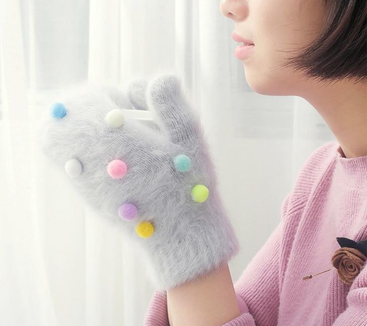 Cheap Winter Gloves Women Colorful Ball Rabbit Fur Gloves Fingerless Knitted Mittens Female Warm Gloves