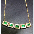 Collier Qi Xuan_fine Jewelry_natural Colombian Emeralds Row Chain Necklaces_s925 Solid Pendant Necklaces_factory Directly Sales