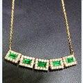 Collier Qi Xuan_fine Jewelry_natural Linha Cadeia De Esmeraldas Colombianas Necklaces_s925 Sólidos Pingente Necklaces_factory Diretamente As Vendas