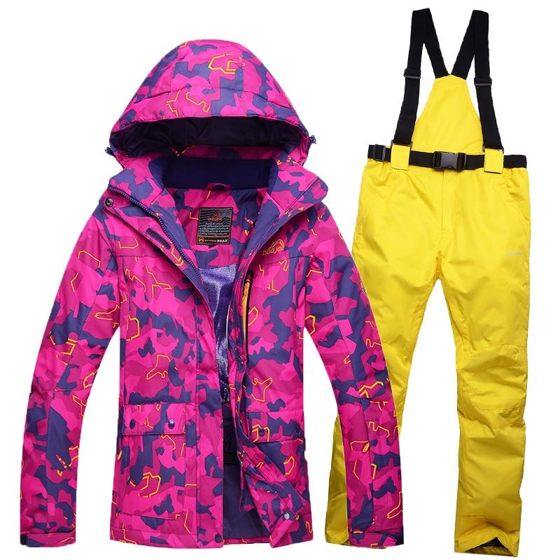 Prix pour Livraison gratuite femme En Plein Air Vêtements de Ski imperméable coupe-vent thermique isolation simple double conseil femelle ski veste et pantalon