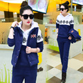 New 2017 Women Thicken Velvet Warm Three-piece Suit Winter Hooded Casual Tracksuits Sportswear Women Set Printed Clothing