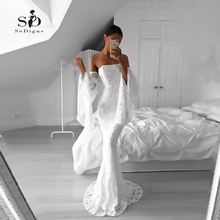 Lace Wedding Dress 2018 Mermaid Flare Sleeve Sexy Party vestido de novia White/Lvory Dresses