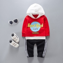 Baby's Clothing Sets Boys Letter Pullover Hooded Sweatshirt Tops + Casual Striped Trousers Sport Tracksuit Kids 2Pcs Suits