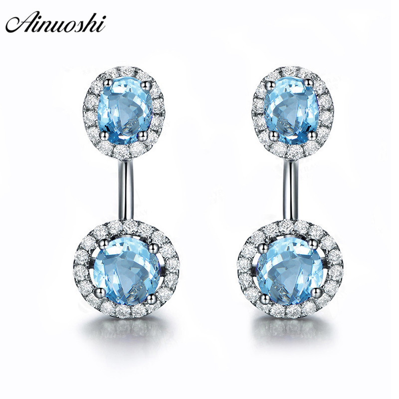 AINUOSHI Natural Blue Topaz Round Halo Earring 3 Carat Gems Silver Push Back Earrings Trendy Pierced