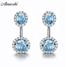 AINUOSHI Natural Blue Topaz Round Halo Earring 3 Carat Gems Silver Push Back Earrings Trendy Pierced Jewelry for Women