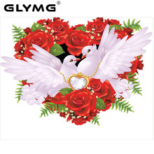Glymg Menjahit Diamond Bordir Perdamaian Merpati Persegi Bor Berlian Ikon Merah Rose Diamond Lukisan Cross Stitch Gambar(China)