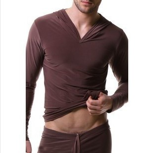 Free-shipping-Male-male-viscose-long-sleeve-casual-sweatshirt-with-a-hood-Men-s-Pajamas