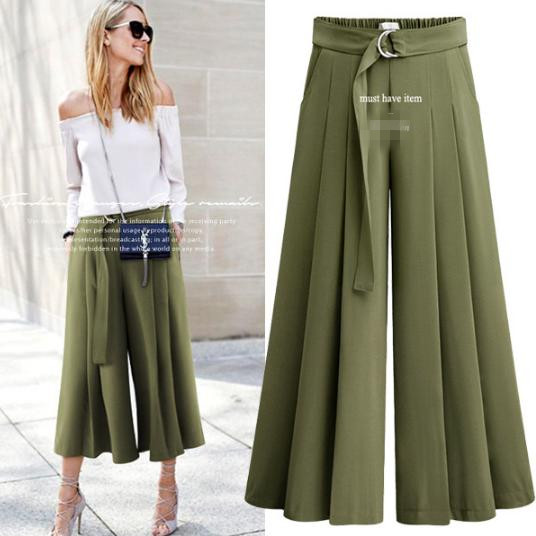 Loose Fit Office Women Summer High Waist   Wide     Leg     Pants   Pockets Green Black Casual ankle-length   pants   Plus Size 3XL