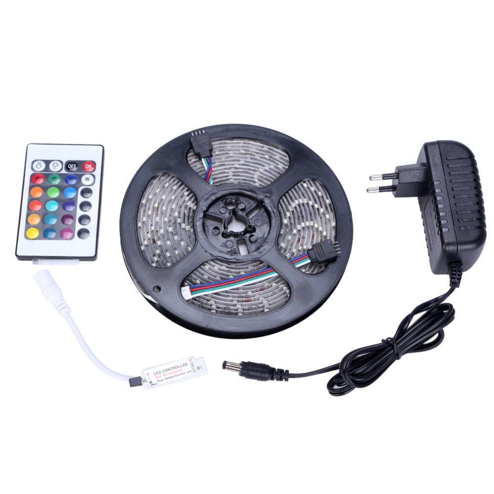 Waterproof LED Strip 3528 SMD 300leds 5M + 24Key IR Remote Controller + 12V 2A Power Adapter RGB LED Light Free Shipping v108 ir remote receive module 2 key remote controller black silver