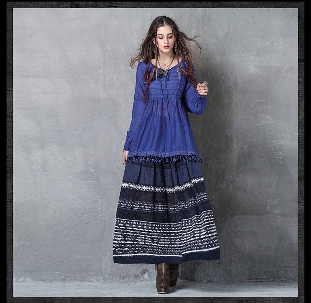 Vintage Women Slik Tassel Blouse 2019 Autumn Silk Women's Blouse Shirts Cotton Pullover Blouses Solid Dark Blue Top B9225 (8)
