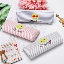 Cute Funny Expression Pattern Cosmetic Bag Stripe Zipper PU Makeup Beauty Travel For Women And Men Toiletry Wash Kit