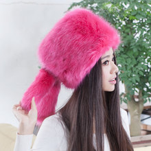 2018 Hot selling new arrival faux fox fur hats,Elegant fashion ladies snow hat Cute girls cartoon rabbit ear plush earflap caps(China)