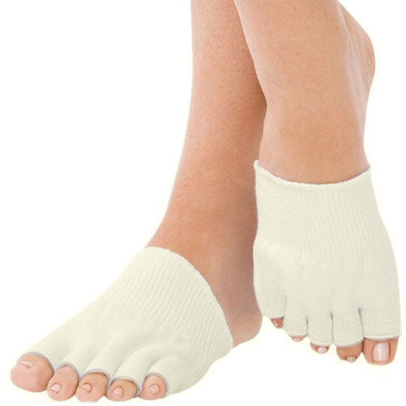 New Brand Designer 1 Pair Compression 5 Toe Separating Socks Heel Pain Relief Nylon Spandex Half Foot Sock Chaussette #OR