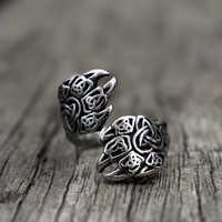 Viking Bear Claw Rings Mens Trinity Knot Stainless Steel Ring Nordic Jewelry