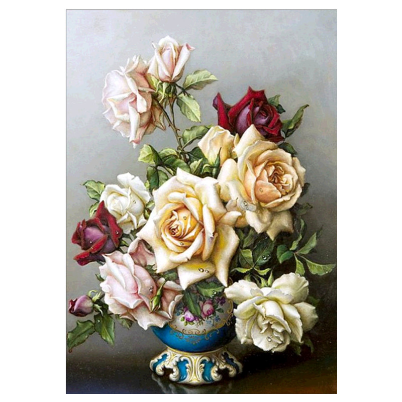 Diamond Embroidery Vase Needle 5D DIY Painting Floral Full Round Rhinestone Mosaic Home Decor