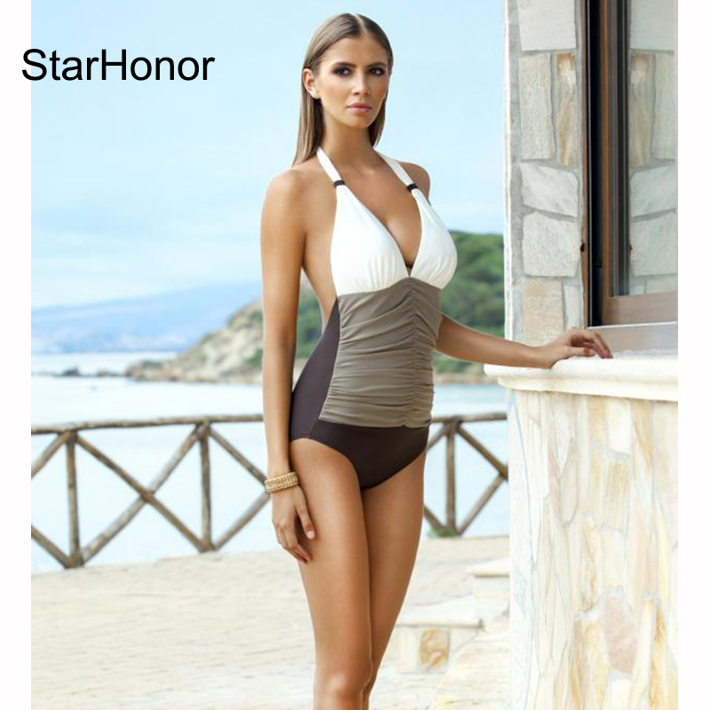 StarHonor 2017  Women One Piece Swimsuit Swimwear Summer Beach Wear Bathing Suit Bandage Backless Halter Top Monokini Swimsuit one piece swimsuit sexy swimwear women 2017 summer beach wear bathing suit bandage backless halter top monokini bodysuit