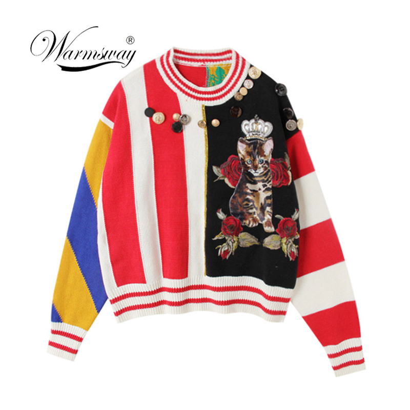 Runway Vintage Winter Sweater Women 2018 Vertical Stripes Cute Cat Flower Pattern Buttons Novelty Knitted Pullover Jumper C 388-in Pullovers from Women's Clothing    1