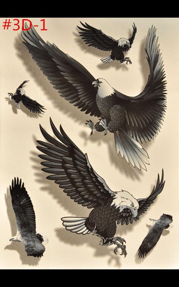 Compras libres 3 d pegatina tatuaje del águila diseño falso del arte de cuerpo t
