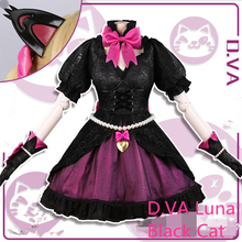 ¡Nuevo! OW Cosplay D.VA Black Cat Luna Cosplay Disfraz Halloween D.va Gotica Mujeres Dress Outfit Dress + Headdress + Earrings