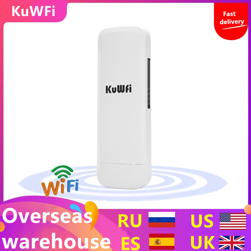 Kuwfi 3Km 2.4G 300Mbps Wifi CPE Router Wifi Repeater Wifi Extender Wireless Bridge Access Point For Wireless Camera LED Display-in Wireless Routers from Computer & Office