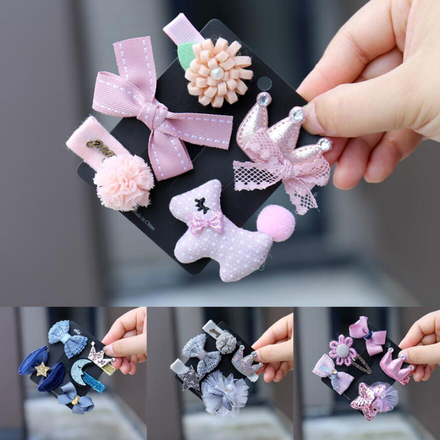 5-6pcs/lot toddlers   Headwear   Children Accessories Ribbon Bow Hair clip Hairpin Rabbit Ears for Girls Princess star Headdress
