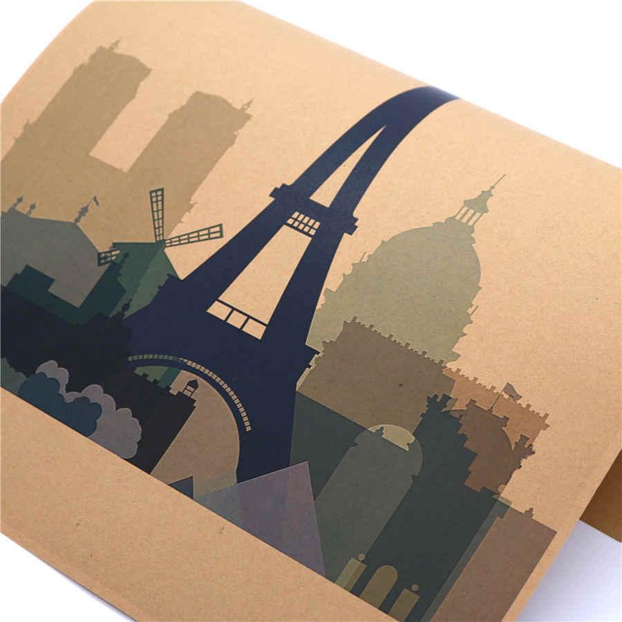 Parijs Abstract Vintage Stad papier Poster Retro Muur Sticker schilderen print picture Woonkamer Cafe Decor 42x30 cm